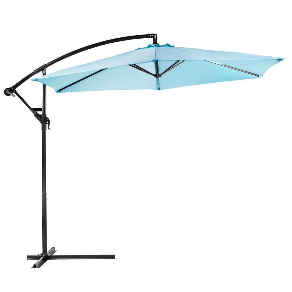 10 ft. Aluminum Outdoor Hanging Market Patio Umbrella in Aqua