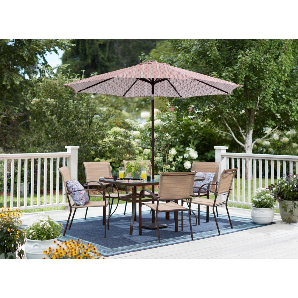 Steel Market Crank Tilt Patio Umbrella In Trellis Chili
