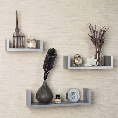 17 in. x 4 in. Gray Floating 'U' Laminated Shelves (Set of 3)