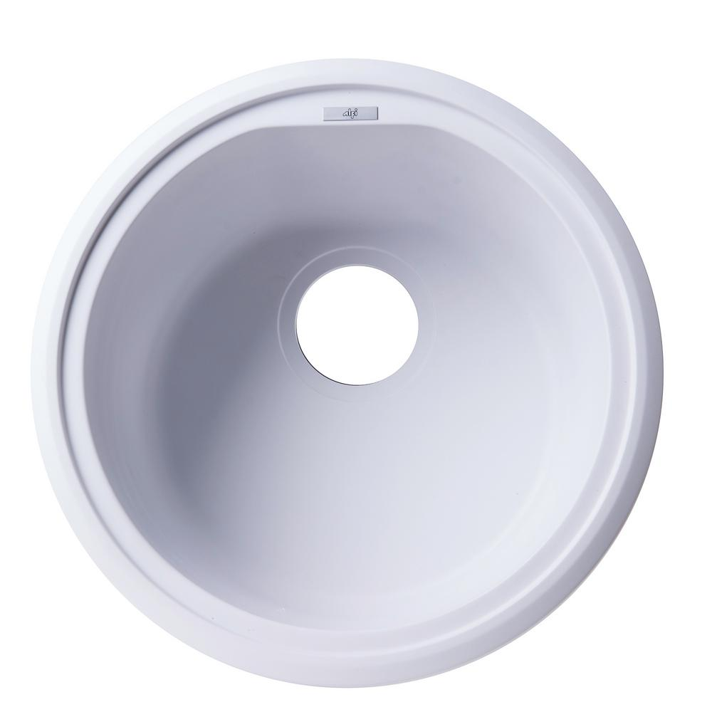 Drop-In Granite Composite 17 in. Single Bowl Kitchen Sink in White