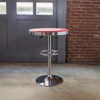Red Adjustable Swivel Pub/Bar Table
