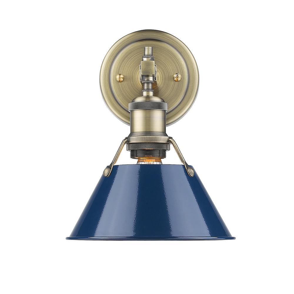 Orwell AB 1-Light Aged Brass Bath Light with Navy Blue Shade