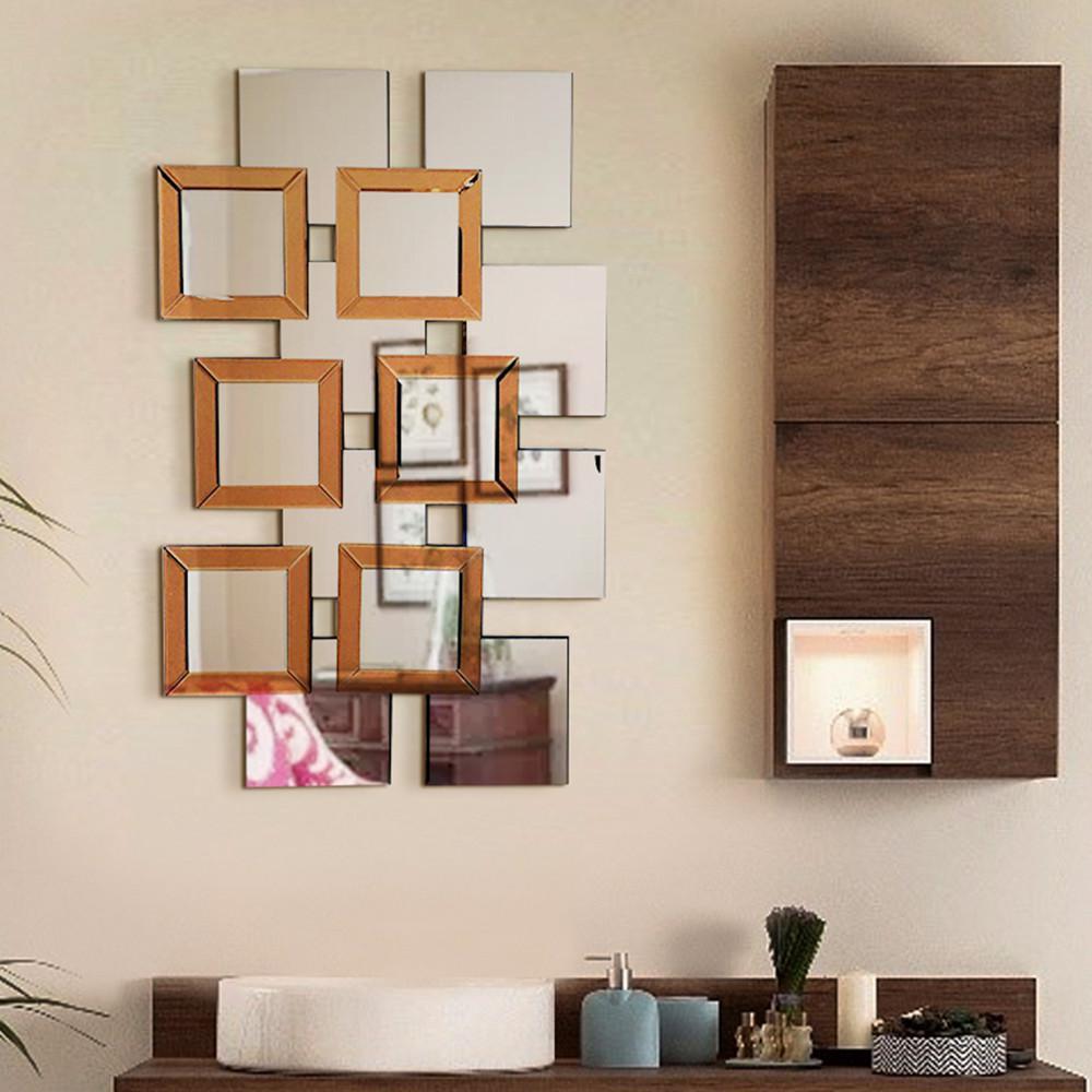 L\'ARTISTE 37.5 in. L x 14 in. W Modern Mirror Wall Art