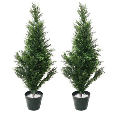 34 in. Faux Potted Artificial Cedar Trees (Set of 2)