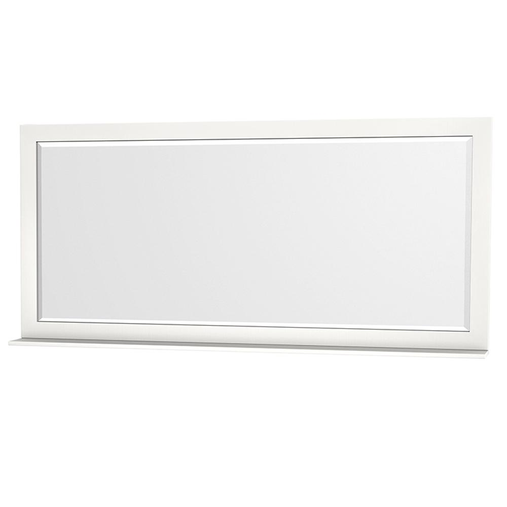 Wyndham Collection Centra 70 in. W x 33 in. H Framed Wall Mirror in White
