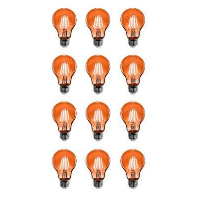 25-Watt Equivalent A19 Medium E26 Base Dimmable Filament Orange Colored LED Clear Glass Light Bulb (12-Pack)