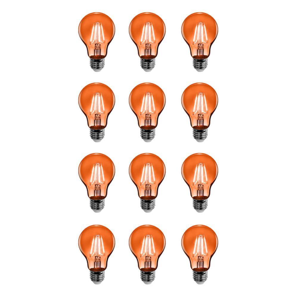 25-Watt Equivalent A19 Medium E26 Base Dimmable Filament Orange Colored LED Clear Glass Light Bulb (12-Pack)