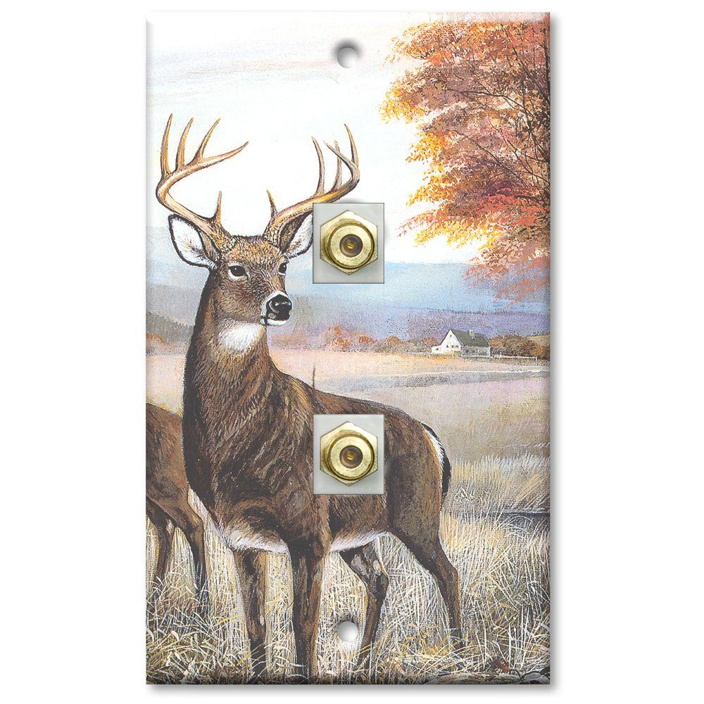 Art Plates White Tail Deer 2 Cable Wall Plate