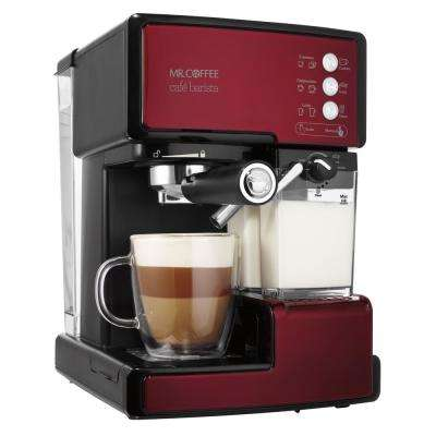 1-Cup Cafe Barista Espresso and Cappuccino Maker in Red