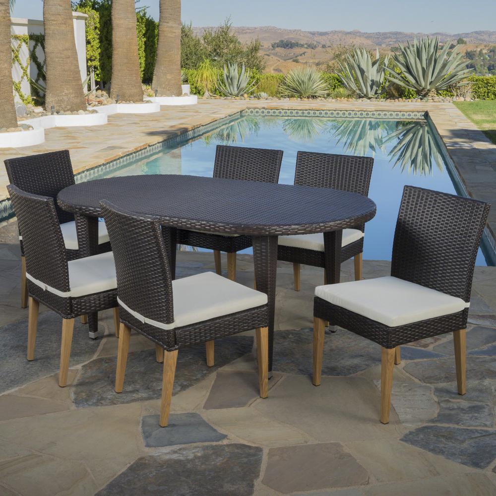 Mazaki Multi-Brown 7-Piece Wicker Outdoor Dining Set with Beige Cushions