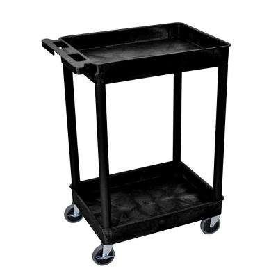 STC Series 18 in. W x 24 in. L 2-Tub Shelf Utility Cart, Black