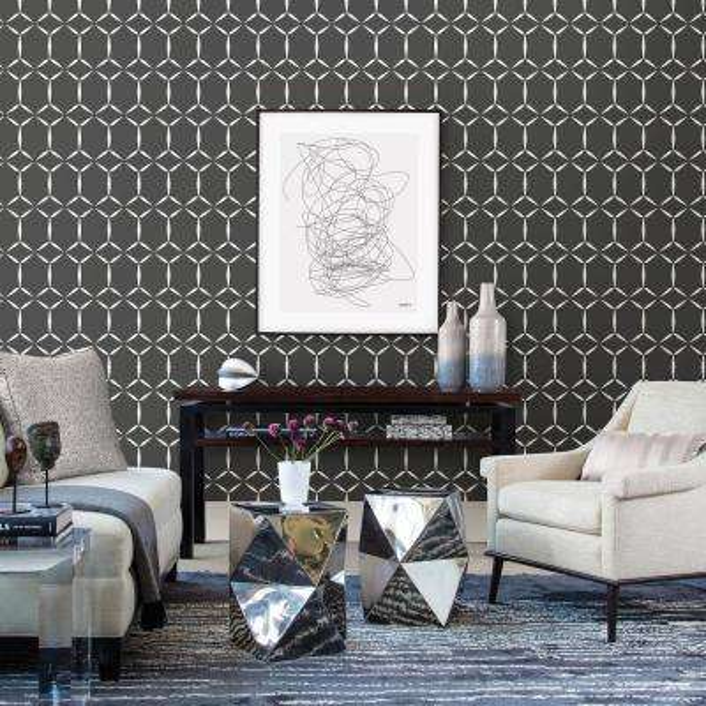 Fusion Black Geometric Wallpaper Sample