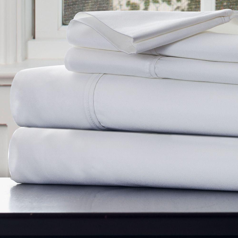 4-Piece White 1000 Count Cotton Sateen Queen Sheet Set