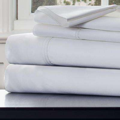 4-Piece White 1000 Count Cotton Sateen King Sheet Set