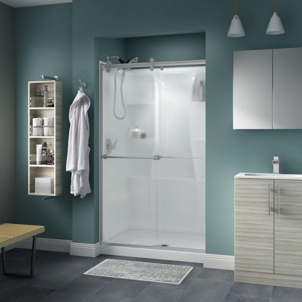 Crestfield 48 in. x 71 in. Semi-Frameless Contemporary Sliding Shower Door in Nickel with Niebla Glass