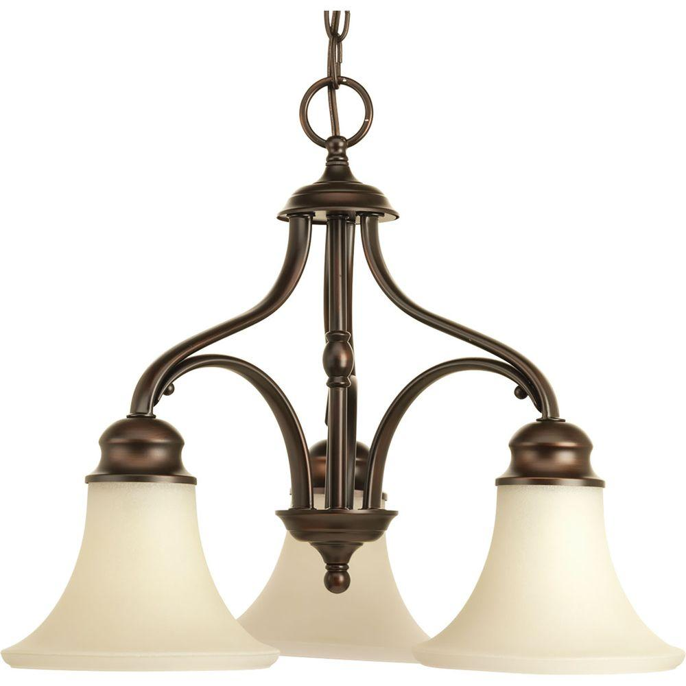 Applause Collection 3-Light Antique Bronze Chandelier with Natural Parchment