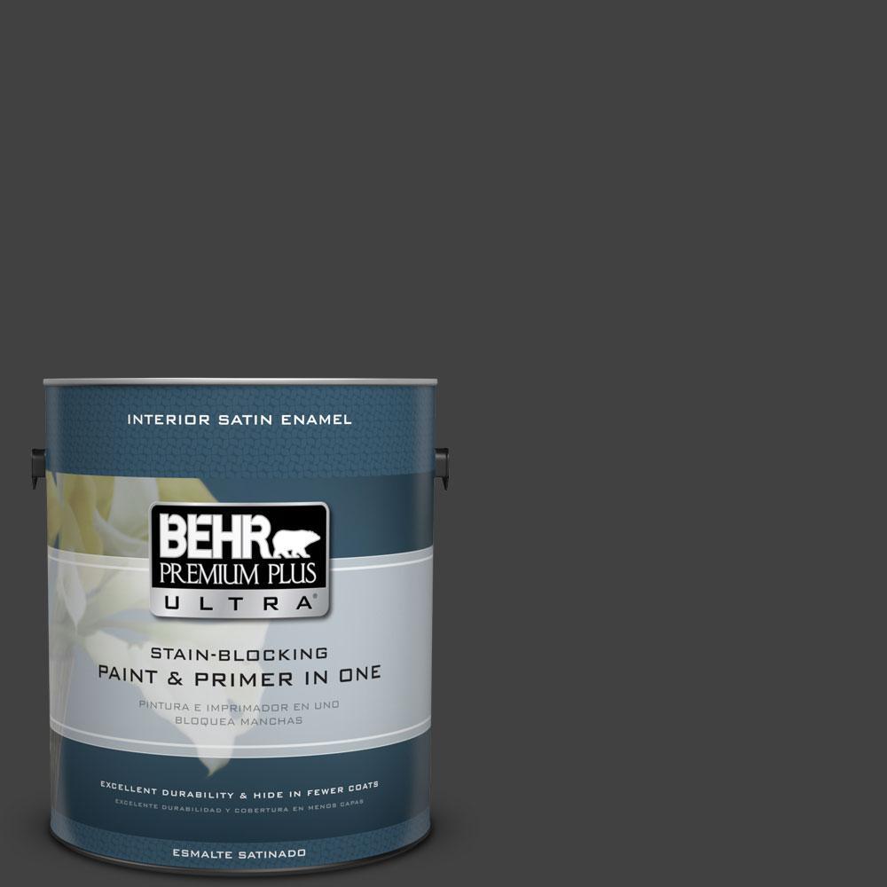 1-gal. #BNC-38 Spade Black Satin Enamel Interior Paint