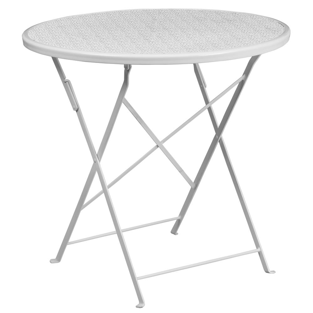 Flash Furniture White Round Metal Outdoor Bistro Table