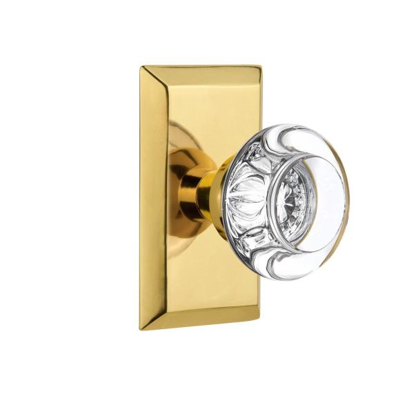 Nostalgic Warehouse Studio Plate 2 3 8 In Backset Polished Brass Privacy Bed Bath Round Clear Crystal Glass Door Knob 713356 The Home Depot