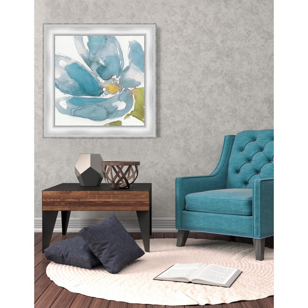 22.5 in. x 22.5 in. 'Flower Splash I' by Jennifer Goldberger Fine Art Paper Print Framed with Glass Wall Art