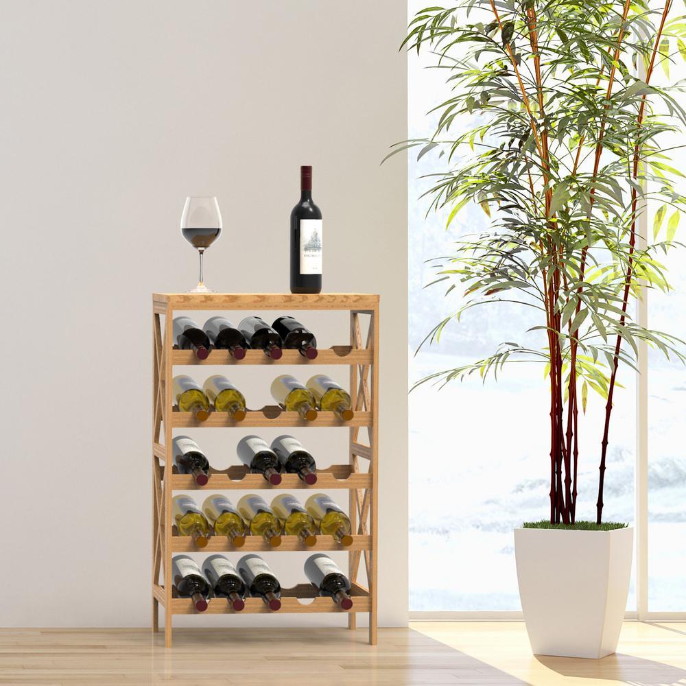 25-Bottle Classic Rustic Wood Wine Rack