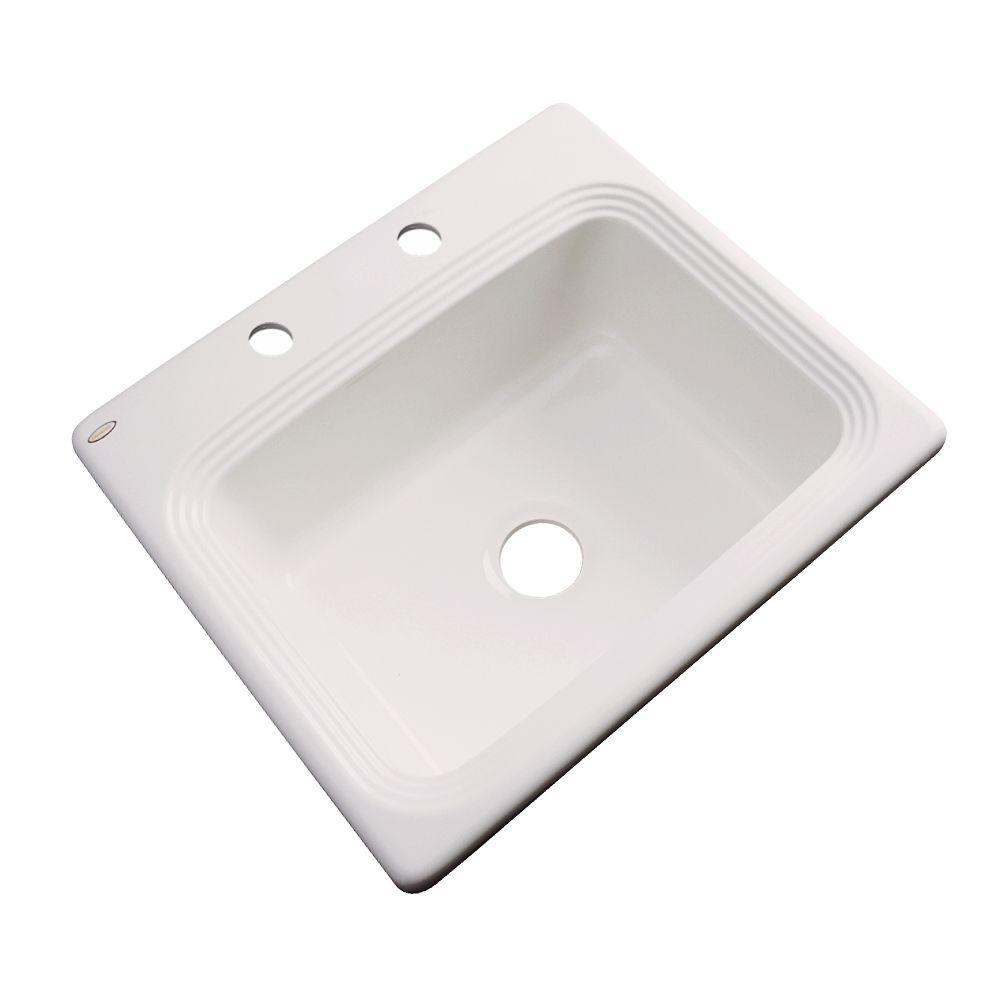 Rochester Drop-In Acrylic 25 in. 2-Hole Single Bowl Kitchen Sink in