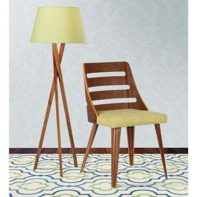 Storm 31 in. Green Fabric and Walnut Wood Finish Mid-Century Dining Chair