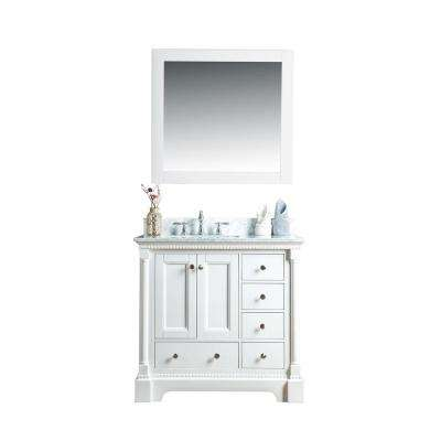 Olivia 36 in. W x 22 in. D Vanity in White with Marble Vanity Top in White with White Basin