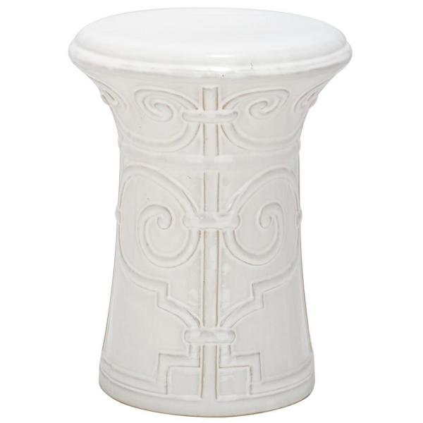 Imperial Scroll White Ceramic Garden Stool