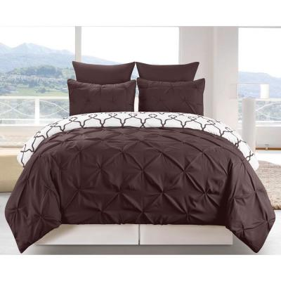 Esy Reversible 3 Piece Duvet King Set in Chocolate