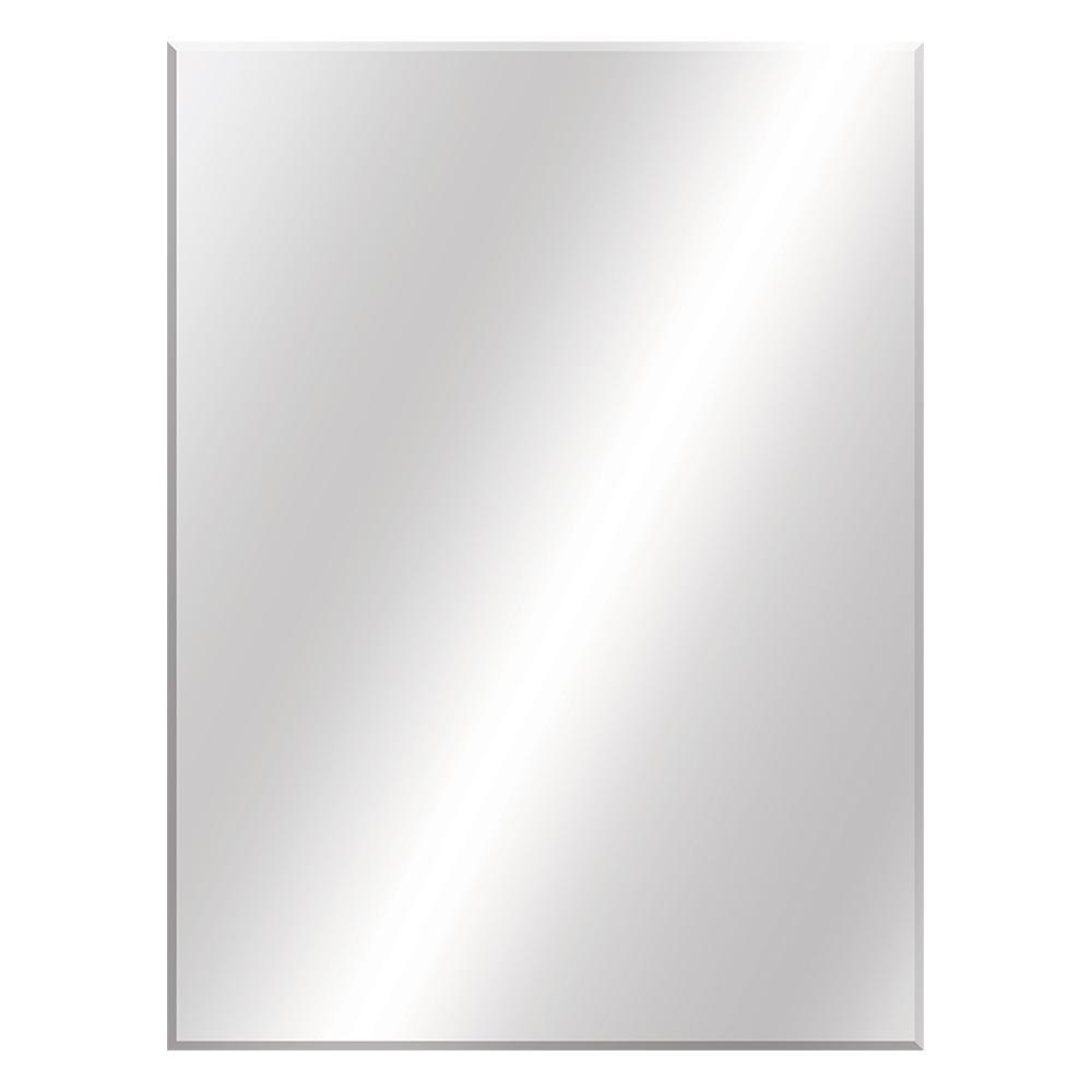 36 in. W x 48 in. H Frameless Rectangular Beveled Edge Bathroom Vanity Mirror in Silver