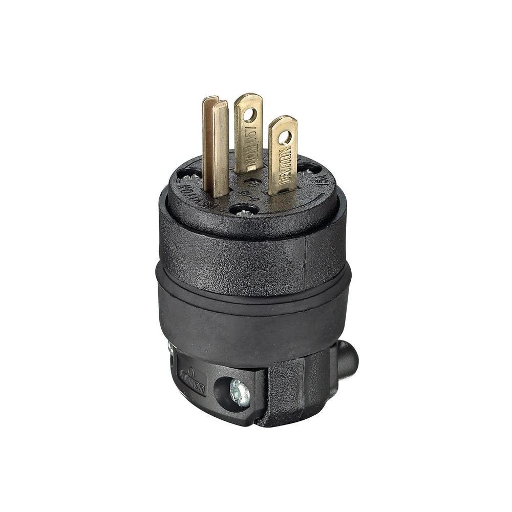 15 Amp 125-Volt Rubber Grounding Plug