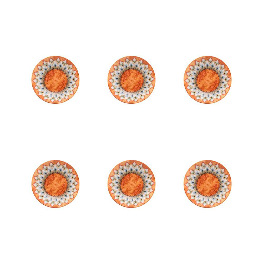 Unni 8.07 in. 26.41 fl. oz. Orange and Blue Stoneware Soup Bowls (Set of 6)