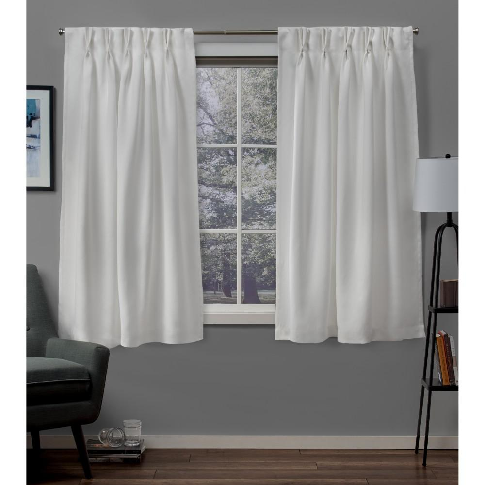 Exclusive Home Curtains Sateen 30 in. W x 63 in. L Woven Blackout Pinch Pleat Top Curtain Panel in Vanilla (2 Panels)