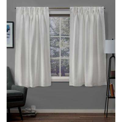 Sateen 30 in. W x 63 in. L Woven Blackout Pinch Pleat Top Curtain Panel in Vanilla (2 Panels)