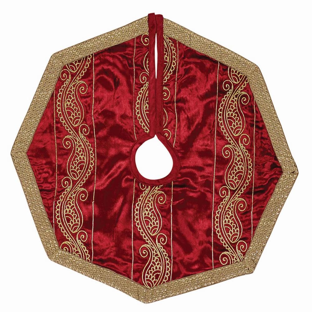 21 in. Yule Christmas Red Glam Decor Mini Tree Skirt