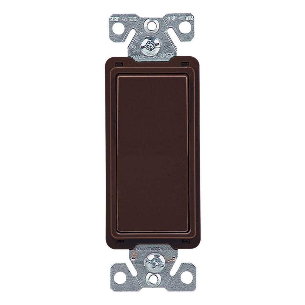 15 Amp 4-Way Rocker Decorator Switch, Brown