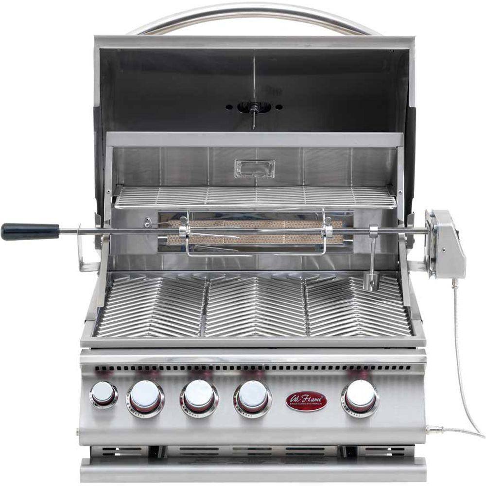 Cal Flame 3-Burner Built-In Stainless Steel Propane Gas Grill with Infrared Rotisserie
