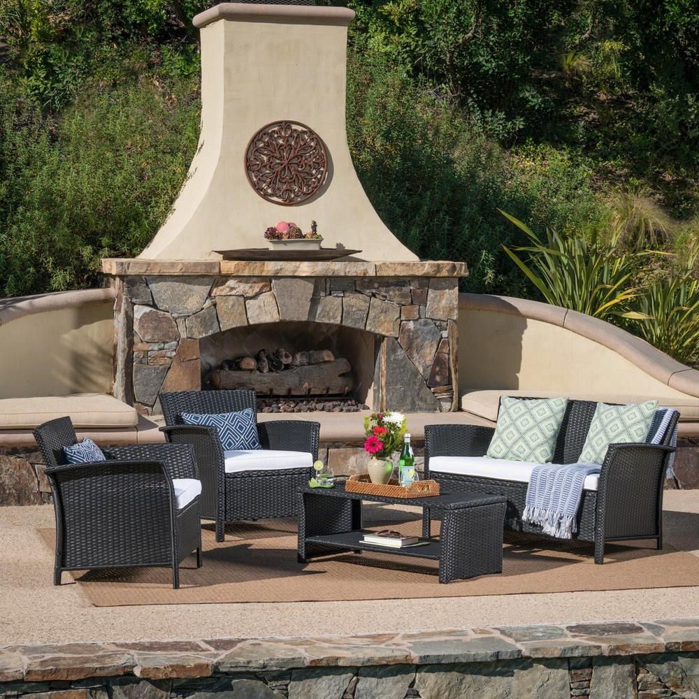Noble House 4-Piece Wicker Patio Conversation Set with White Seat Cushions