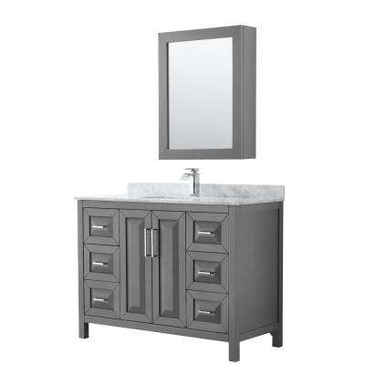 Daria 48 in. Single Bathroom Vanity in Dark Gray with Marble Vanity Top in Carrara White and Medicine Cabinet