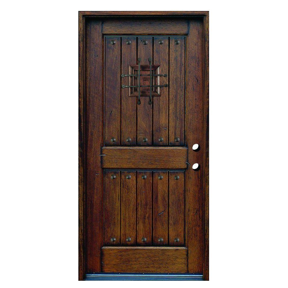 Main Door 36 in. x 80 in. Rustic Mahogany Type Left-Hand Inswing Stained Distressed Speakeasy Solid Wood Prehung Front Door