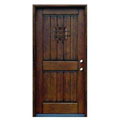 36 in. x 80 in. Rustic Mahogany Type Left-Hand Inswing Stained Distressed Speakeasy Solid Wood Prehung Front Door