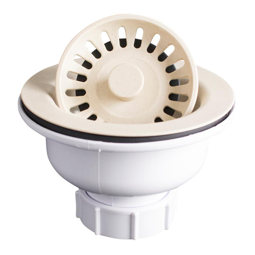 Karran 3-1/2 In. Kitchen Sink Basket Strainer in Bisque
