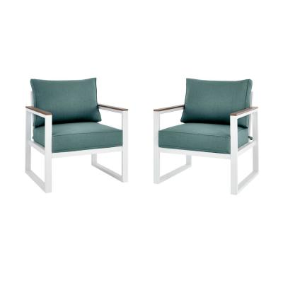 West Park White Aluminum Outdoor Patio Lounge Chair with Sunbrella Peacock Blue-Green Cushions (2-Pack)