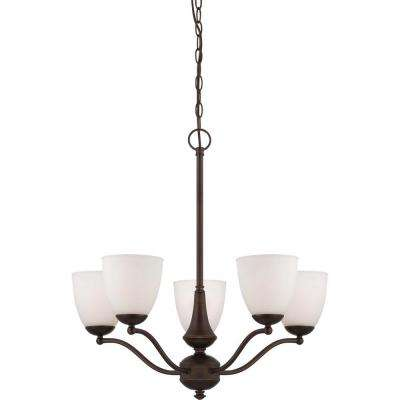 5-Light Prairie Bronze Arms Up Chandelier with Frosted Glass Shade