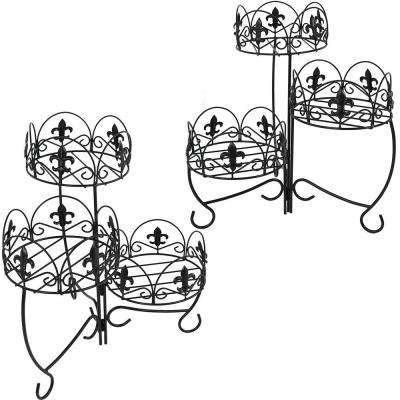 22 in. Black Iron 3-Tiered French Lily Plant Stand (2-Pack)