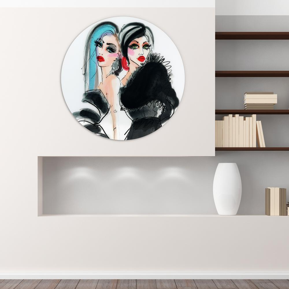 ''Best Friends 1'' Frameless Free Floating Tempered Glass Round Graphic Art