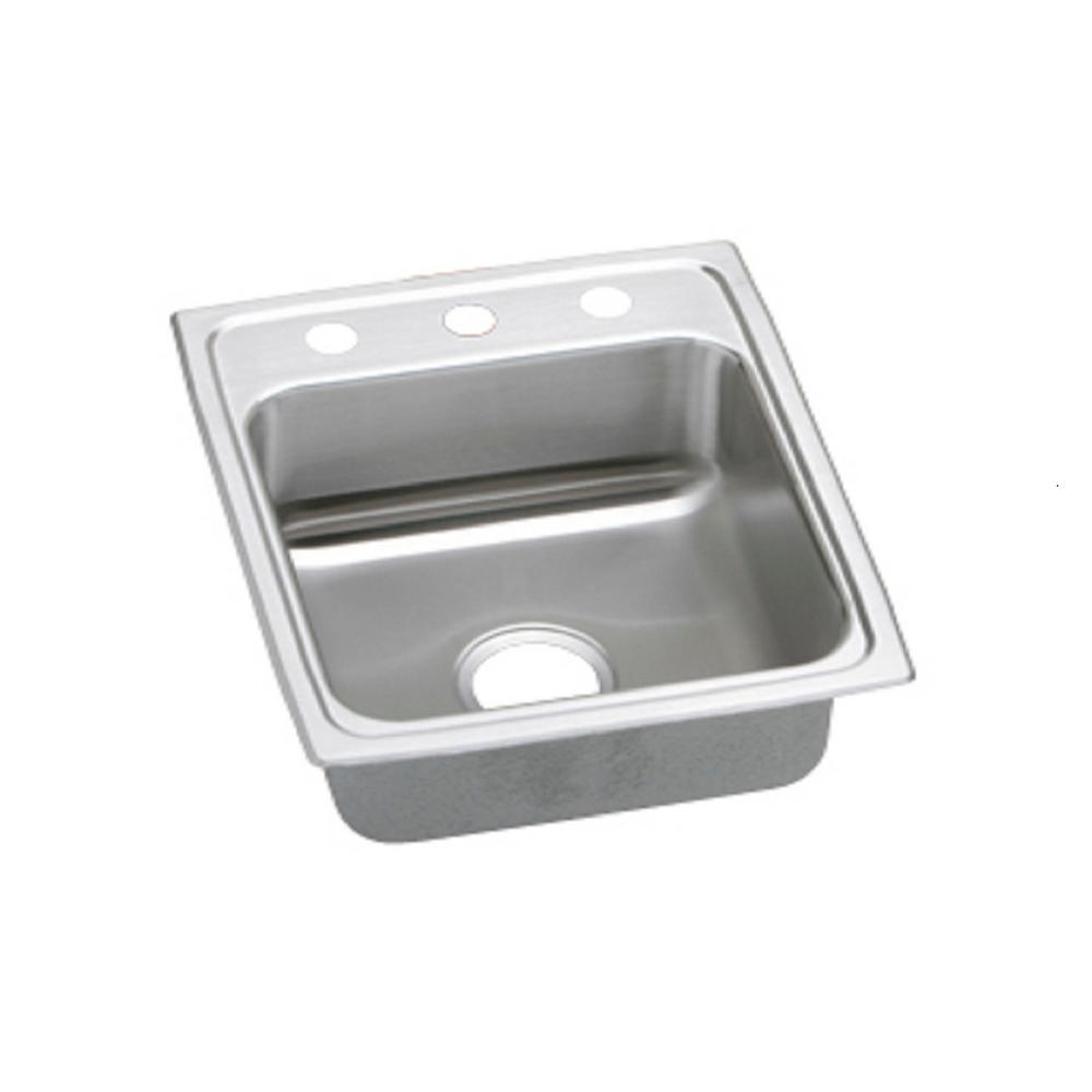Elkay Lustertone Drop In Stainless Steel 15 In 3 Hole Single Bowl Kitchen Sink Lr15223 The
