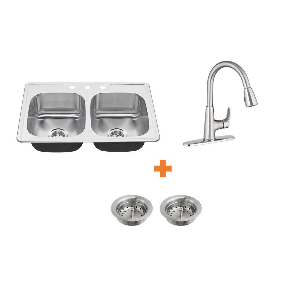 American Standard Colony All In One Drop Stainless Steel 33 3 Hole 50 Double Bowl Kitchen Sink With Faucet 4 Piece