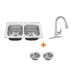 Colony All-in-One Drop-In Stainless Steel 33 in. 3-Hole 50/50 Double Bowl Kitchen Sink with Faucet (4-piece)
